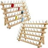 New brothread 2x60 Carretes Organizador de hilo de madera/estante de hilo con ganchos para colgar para bordar, acolchar y coser hilos