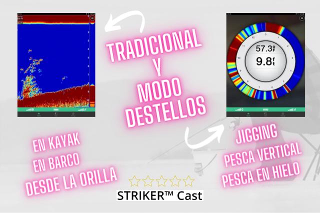 modos tradicional y destello en pantalla garmin striker cast